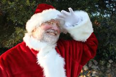 Santa Peering Into the Distance Stock Photos