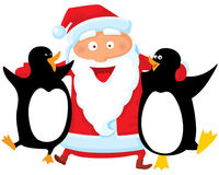 Santa with penguin. Vector illustration royalty free illustration
