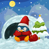 Santa penguin. Illustration of landscape santa penguin Stock Image