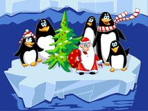 Santa with penguins Stock Image