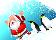 Santa with penguins Royalty Free Stock Image