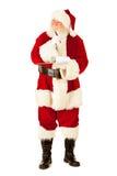Santa: Pensamento e escrita na prancheta Imagem de Stock Royalty Free