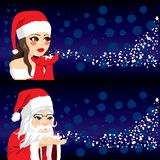 Santa People Blowing Snow vector illustratie