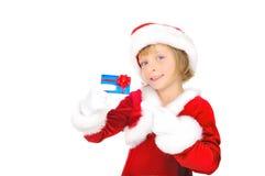 Santa pequena bonito com cartão de crédito Imagem de Stock Royalty Free