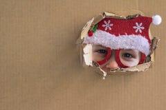 Santa pequena Fundo do feriado O Natal está aqui imagens de stock