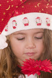 Santa pequena que cheira uma flor Fotos de Stock Royalty Free