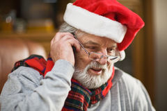 Santa on the phone Royalty Free Stock Photo