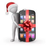 Santa with a phone gift Stock Images