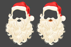 Santa photo props. Santa Claus photo props hat, beard and mustache. Realistic Santa Claus photo props. Christmas photo props hat, beard and mustache. Santa Claus Royalty Free Stock Images