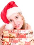 Santa piękną dziewczynę nosić kapelusz Zdjęcie Royalty Free
