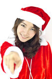 Santa piękna młoda kobieta Claus, Zdjęcie Royalty Free