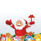 Santa with Pile of Christmas Gift Royalty Free Stock Photography