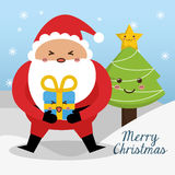 Santa and pine tree of Chistmas design Royalty Free Stock Image