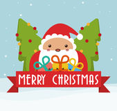 Santa and pine tree of Chistmas design Stock Photos