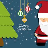 Santa and pine tree of Chistmas design Stock Photography