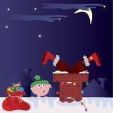 Santa in the pipe Royalty Free Stock Image