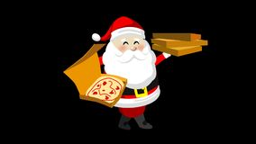 Santa with pizza boxes.