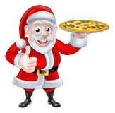 Santa with Pizza Stock Photo