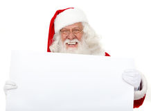 Santa with a placard Royalty Free Stock Photo