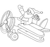 Santa on the Plane coloring page Royalty Free Stock Images
