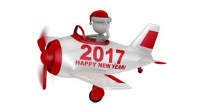 Santa  in  plane  Happy New Year 2017 stock footage