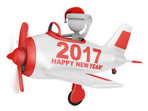 Santa in plane Happy New Year 2017. Santa waves his hand in the plane with the inscription Happy New Year 2017. 3D render royalty free illustration