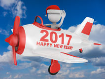Santa in plane Happy New Year 2017. Santa waves his hand in the plane with the inscription Happy New Year 2017. 3D render stock illustration