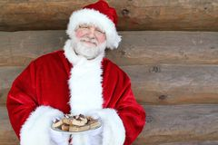 Santa With Plate of Cookies Stock Photos