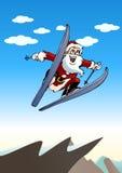 Santa play ski Stock Image