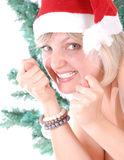 Santa playful girl with figas Stock Photo