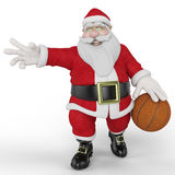 Santa playing basketball Royalty Free Stock Photos