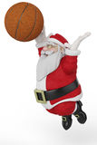 Santa playing basketball jump Royalty Free Stock Photography
