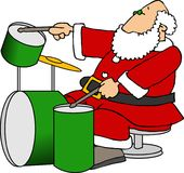 Santa Playing Drums Stock Photos