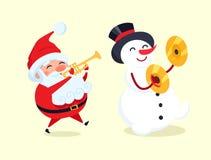 Santa Playing en la trompeta, muñeco de nieve con el platillo del tambor Fotos de archivo libres de regalías