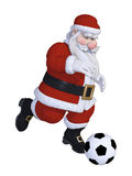 Santa playing football. Isolated on the white background Stock Photography