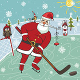 Santa playing ice hockey.Humorous illustrations. Christmas,New year Illustration,card. Santa Claus playing ice hockey. Near hare and owl,forest landscape.Trendy Royalty Free Stock Images