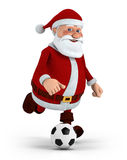 Santa playing soccer Stock Image