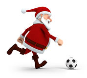 Santa playing soccer Stock Photos