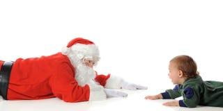 Santa Playing with Toddler stock image