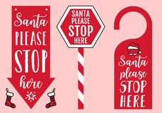 Santa please stop here sign, door hanger, hat and socks, vector design elements for Christmas cards royalty free illustration