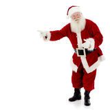Santa Pointing. Santa Claus standing and pointing to copy space, white background, full length, square