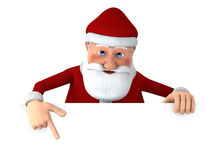 Santa pointing at blank sign Stock Images
