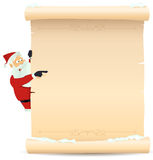 Santa Pointing Christmas List. Illustration of Santa Claus pointing christmas parchment sign for children gift or toys wish list Royalty Free Stock Image