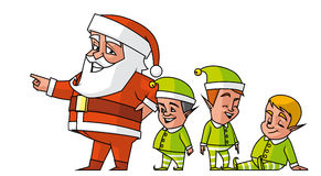 Santa pointing and elfs. Santa pointing with the finger and elves Royalty Free Stock Photography