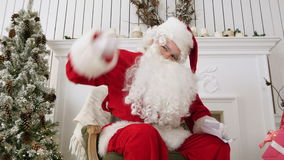Santa pointing his finger at the camera and looking stern stock footage