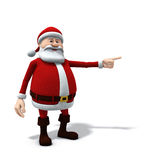 Santa pointing left. 3d rendering/illustration of a cartoon santa pointing to his left / screen right Royalty Free Stock Photos