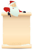 Santa Pointing Parchment Sign. Illustration of Santa claus pointing parchment sign for children gift list Royalty Free Stock Photos