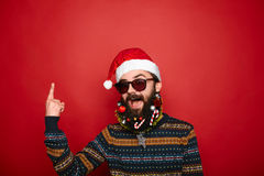 Santa Pointing Upwards Fotografia Stock