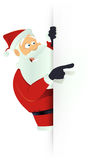 Santa Pointing White Blank Sign Royalty Free Stock Photos
