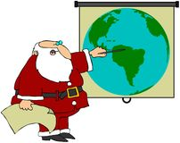 Santa Pointing At A World Globe Stock Images